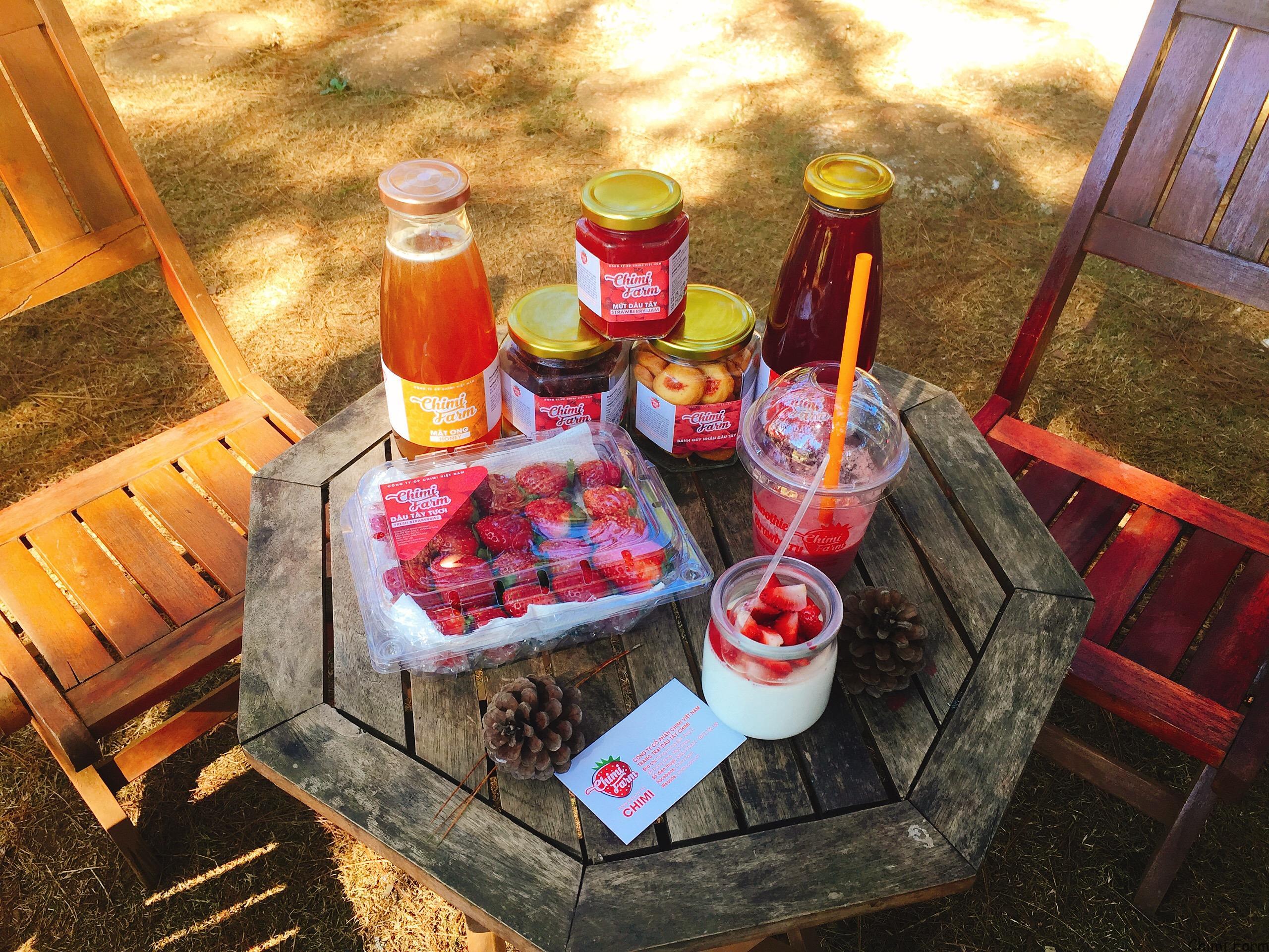 Các sản phẩm chế biến từ dâu tây mang thương hiệu của Chimi Farm