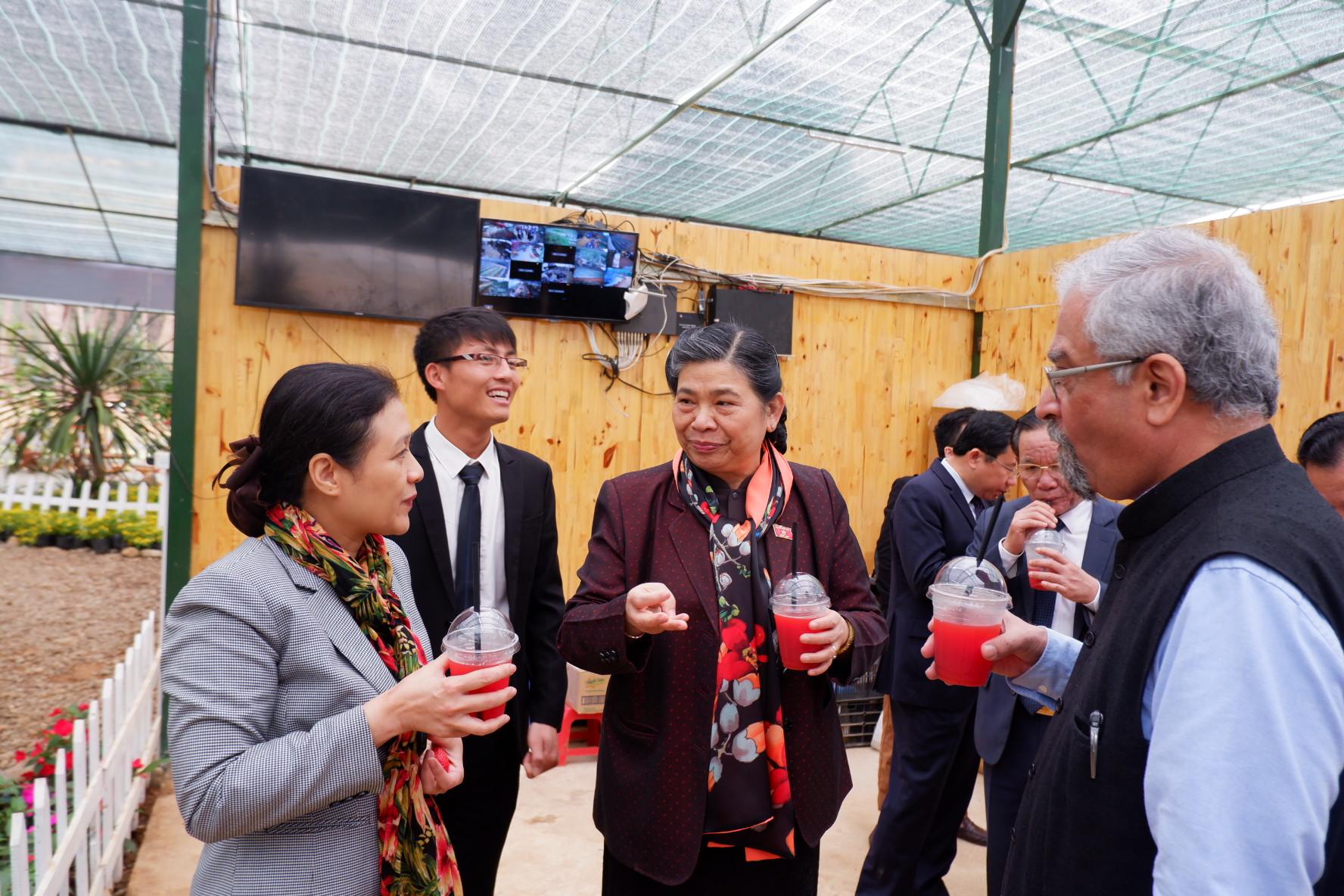 Các vị khách đều dành lời khen ngợi cho sản phẩm của nông trại Chimi