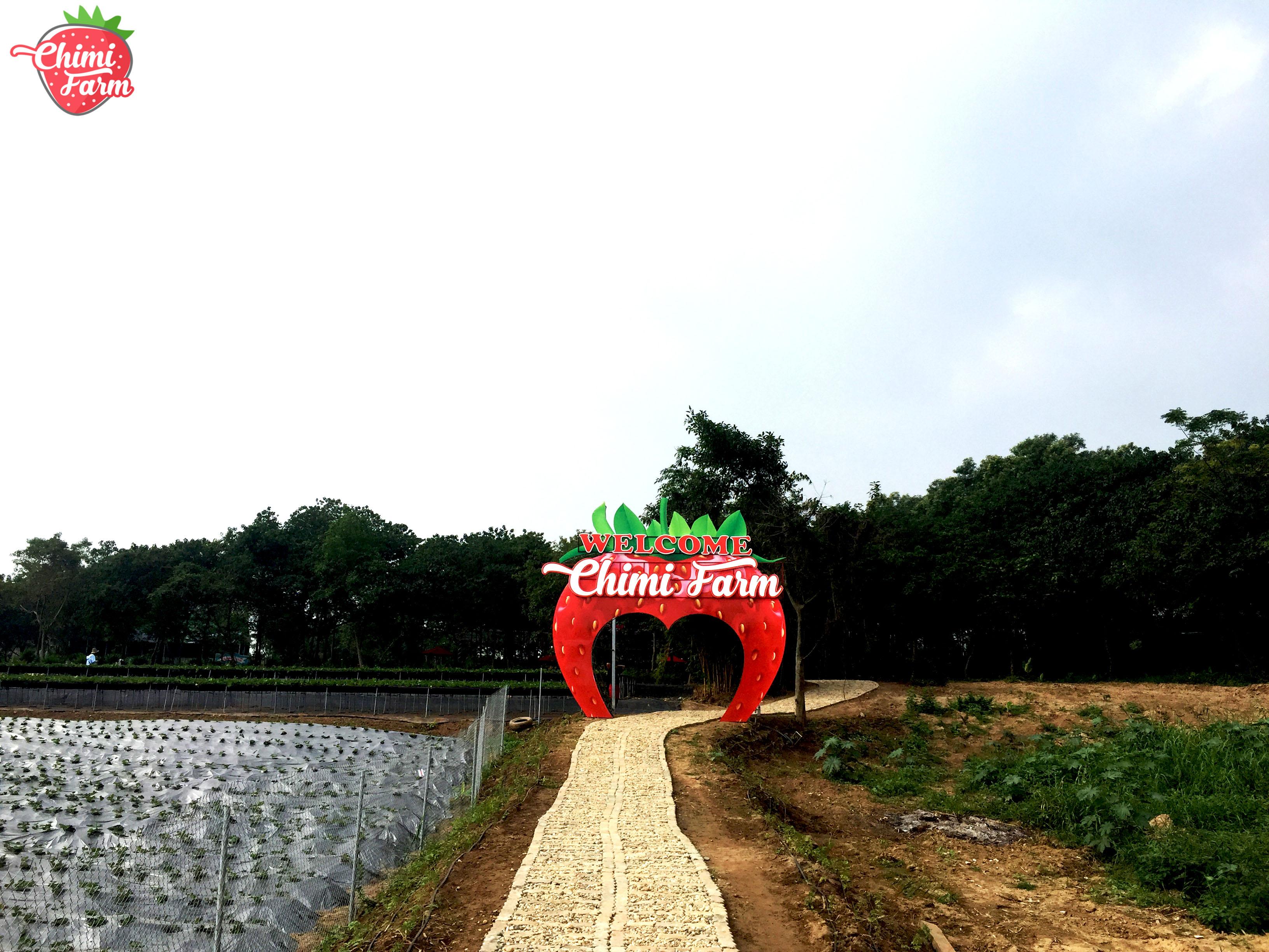 Cổng chào của trang trại dâu tây Chimi