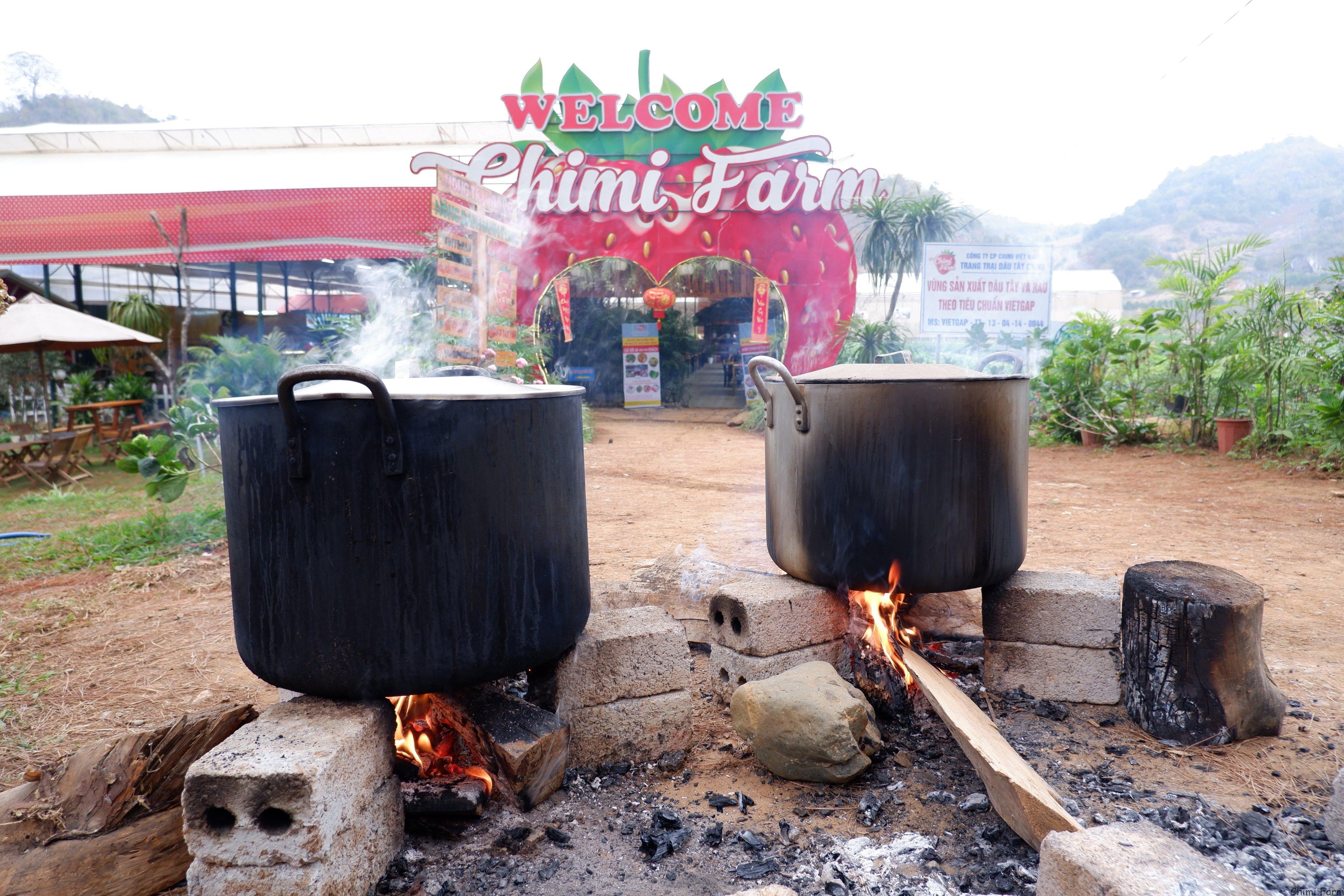 Trông nồi bánh chưng trước cổng trang trại dâu tây Chimi
