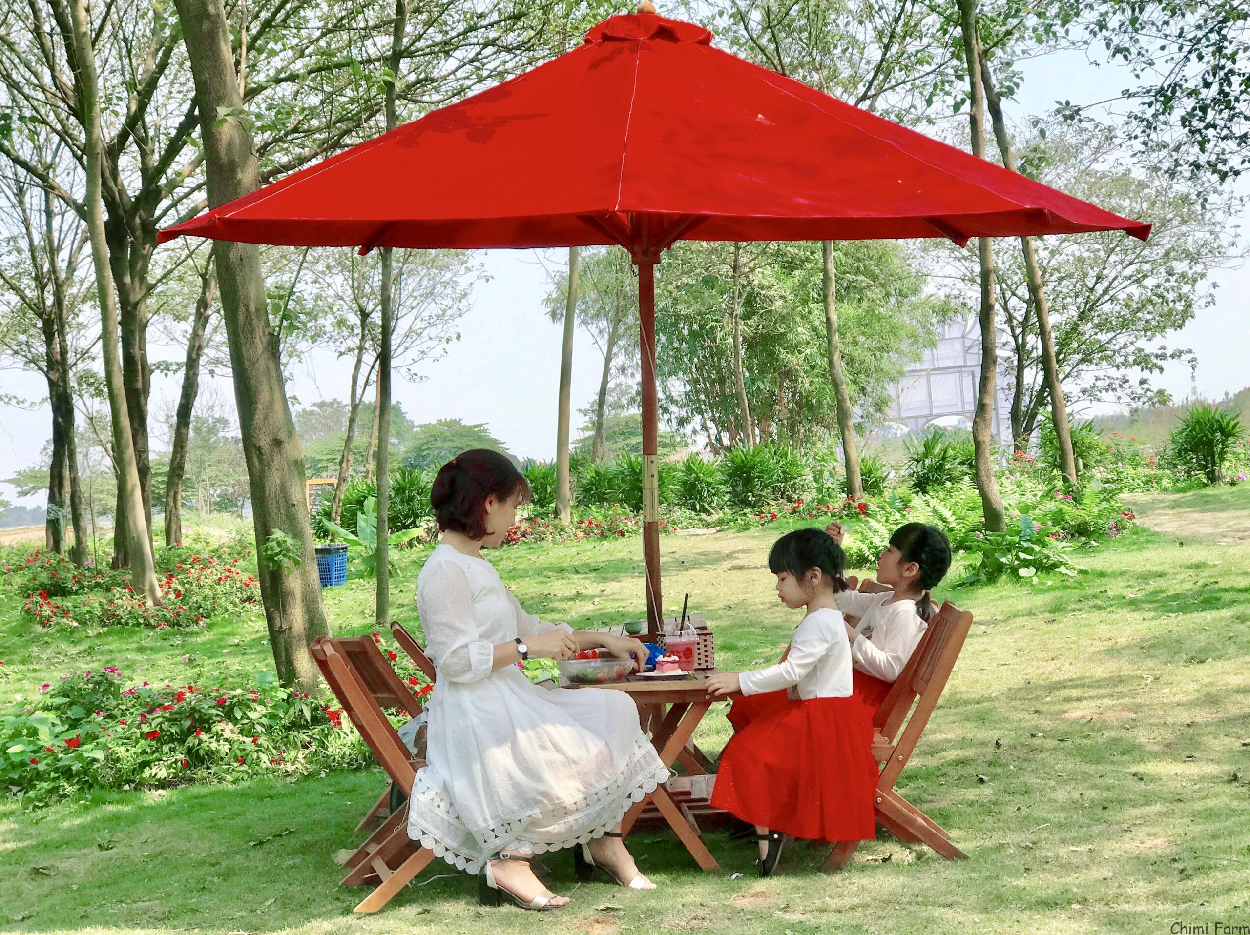 Khuôn viên của nông trại rộng và thoáng mát cho các chuyến picnic cuối tuần