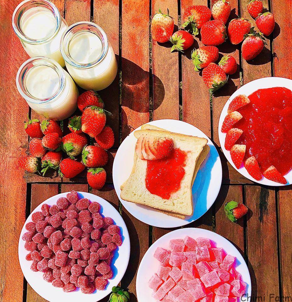 Các sản phẩm từ dâu tây tươi được đầu bếp của nông trại chế biến tại chỗ