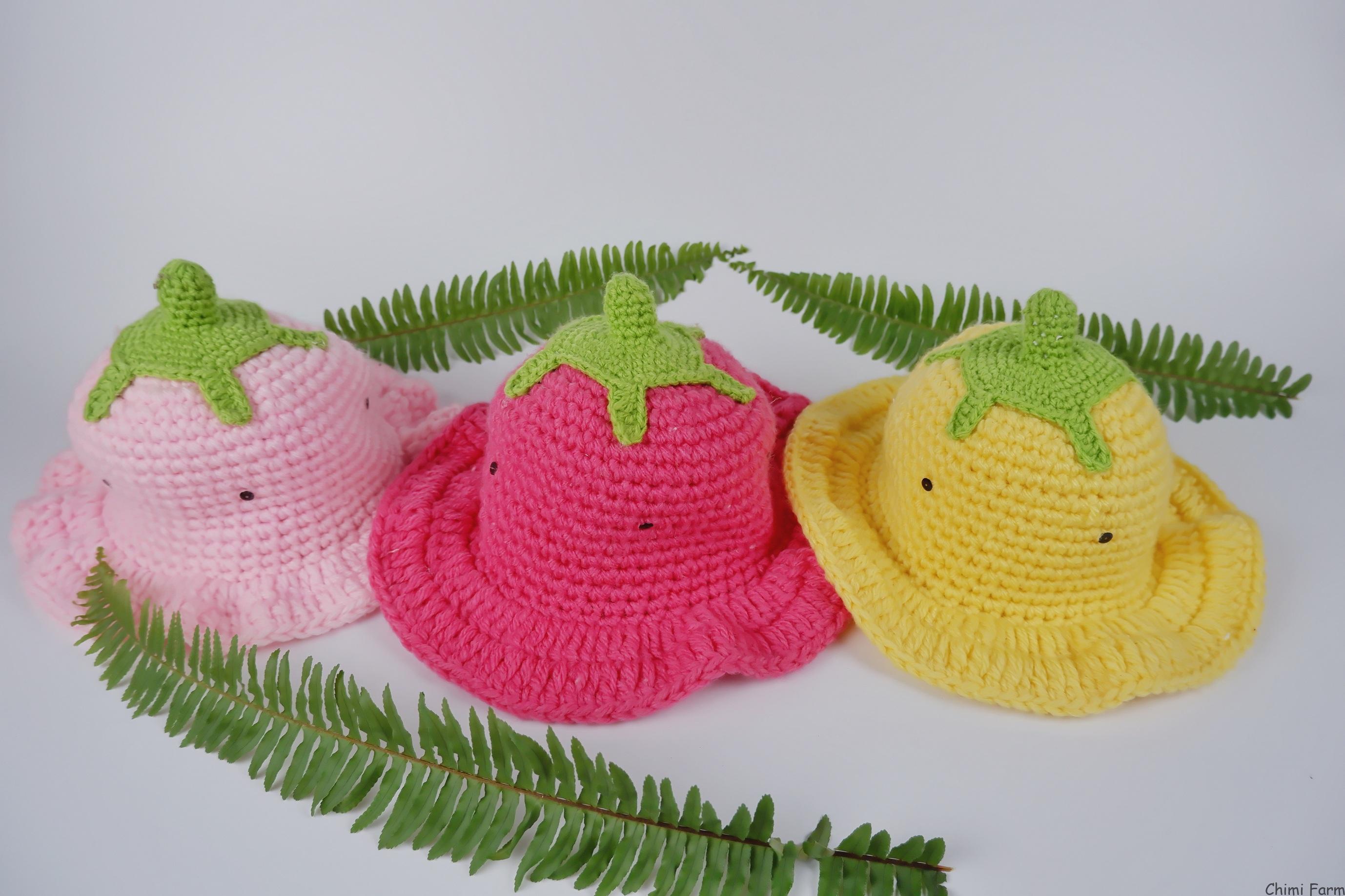 Mũ len dâu tây nhiều màu sắc dễ thương cho các bé